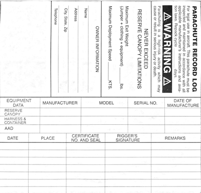Reserve Data Log Card Front