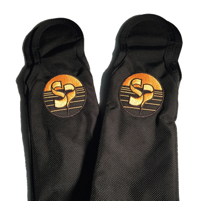 Black and gold legpad covers